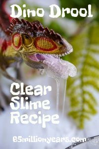 A dinosaur with ooey gooey dino drool hanging from it's mouth ( clear slime recipe )