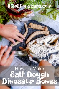 little kids play paleontologist in this dino dig filled with sand, a salt dough t-rex skull and dinosaur bones. Text reads How to make Salt Dough Dinosaur Bones